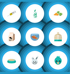 Flat icon animal set of fish nutrient root vector