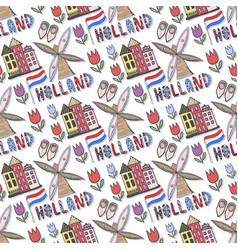 Hand drawn holland seamless pattern with windmill vector