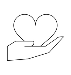 hand holds heart love outline vector image