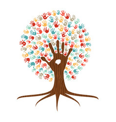 hand print art tree for community help vector image