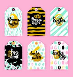 Happy easter trendy gift labels vector