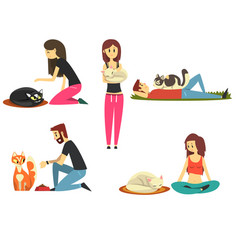 happy people with their cats set cute pets with vector image