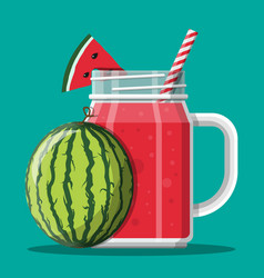 Jar with watermelon smoothie with striped straw vector