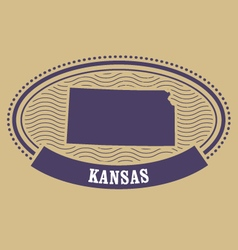 Kansas map silhouette - oval stamp of state vector