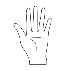 Line nice hand with all fingers and palm vector