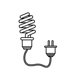line save bulb with power cable vector image