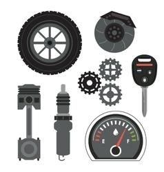 Machine icon set Auto part design graphic vector image vector image