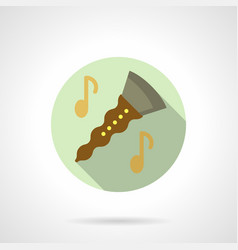 Music lessons clarinet flat round icon vector