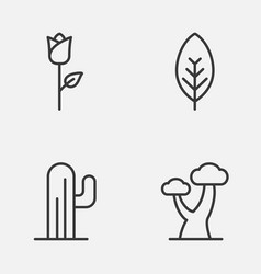 Nature icons set collection of cactus oak love vector
