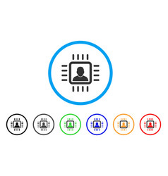 Neuro processor rounded icon vector