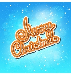 Orange text merry christmas on winter background vector