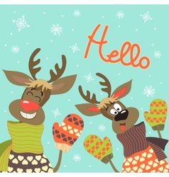 Reindeers say hello vector image