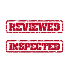Reviewed and inspected rubber stamps vector image
