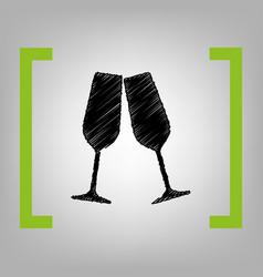 sparkling champagne glasses black vector image