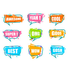 Trendy speech bubble isolated colorful set vector