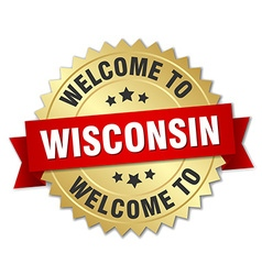 Wisconsin 3d gold badge with red ribbon vector