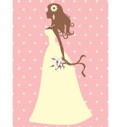 Elegant bride silhouette vector