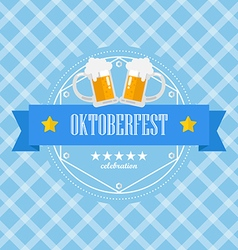 Beer festival oktoberfest badge on blue background vector