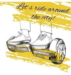 Hand drawn modern urban transport electric scooter vector