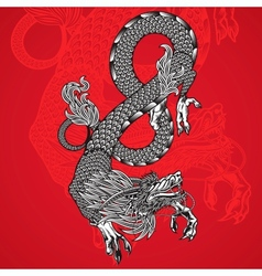 Ancient chinese dragon and red background vector