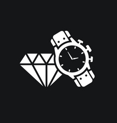 Male watch and diamond icon expensive gifts vector
