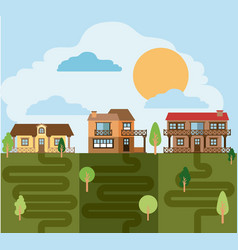 Colorful landscape with group of country houses vector