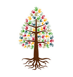Pine tree with hand print art diverse people sign vector