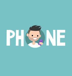 Phone concept sign young bearded man is looking vector