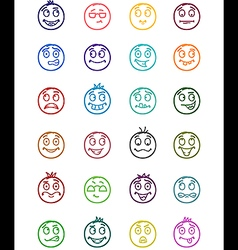24 smiles icons set 7 vector