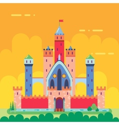 Cartoon magic fairytale castle flat design icon vector