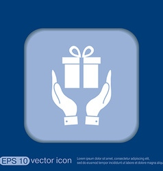 Hand holding a holiday gift box icon vector