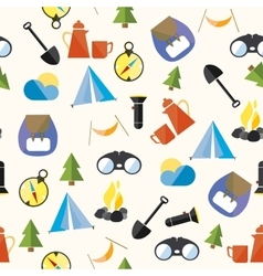 Set tourism camp hike boho pattern seamless loop vector