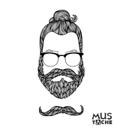 Hand drawn mustache beard and hair style vector
