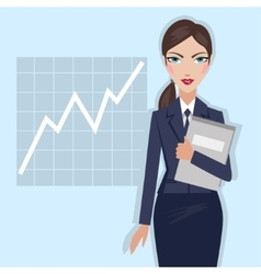 Business woman with folder in hand vector