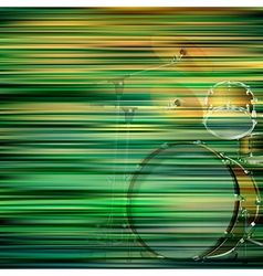 Abstract green blur background with drum kit vector