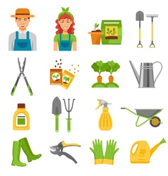Gardener tools accessories flat icons set vector