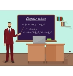 School Computer science male teacher in audience vector image