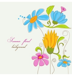 Summer background colorful flowers vector