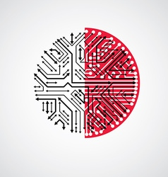 abstract technology with round black and red vector image vector image
