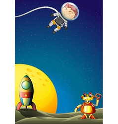 An astronaut and a robot in the outerspace vector image vector image