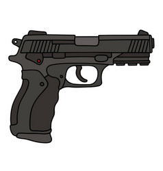 Black automatic handgun vector