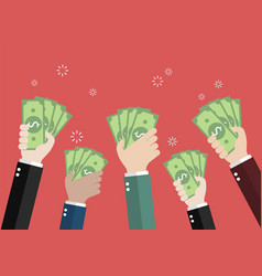 businessman holding money for auction bidding vector image
