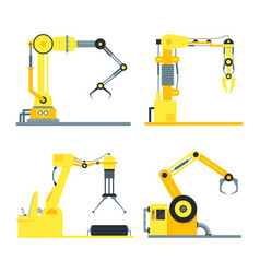 cartoon industrial technology robotic arm set vector image vector image