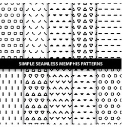 Collection of simple seamless geometric patterns vector