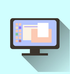 computer screen icon with long shadow isolated on vector image