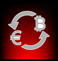Currency exchange sign euro and bitkoin postage vector