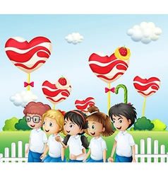 Five students at the candyland vector image vector image
