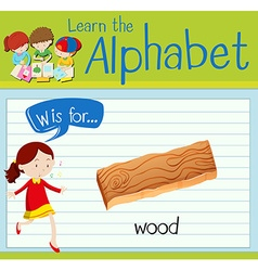 Flashcard letter w is for wood vector