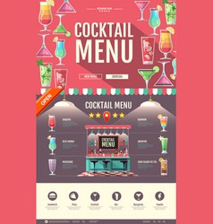 flat style cocktail bar design web site design vector image vector image
