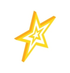 Gold star icon isometric 3d style vector